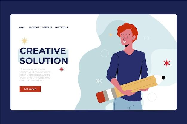Página de inicio de solución creativa plana