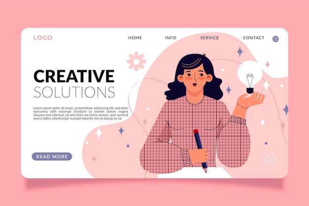 Página de inicio de soluciones creativas de diseño plano
