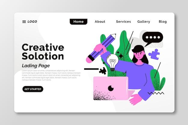 Página de inicio de soluciones creativas ilustradas en plano