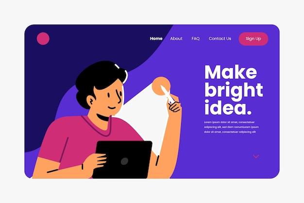 Página de inicio de soluciones creativas planas