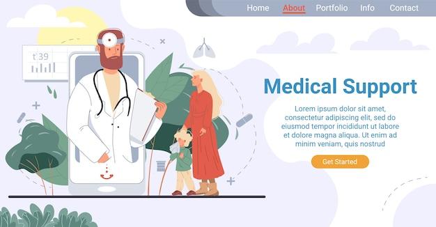 Página de inicio de soporte médico para pediatras en línea. servicio de médico de familia asistencial. madre que muestra al niño enfermo que sufre de secreción nasal al especialista en la pantalla del teléfono móvil. telemedicina para niños