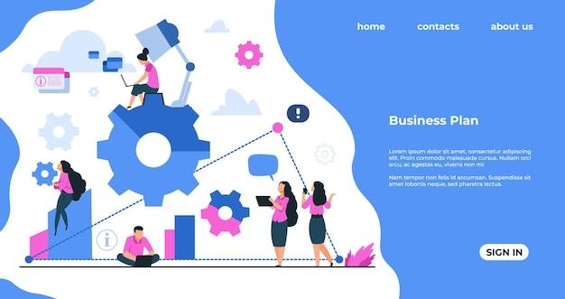 Página de inicio de team building. concepto de cooperación de desarrollo empresarial, organización de procesos de trabajo y trabajo en equipo. vector banners personas de comunicación de mecanismo de página web en los negocios