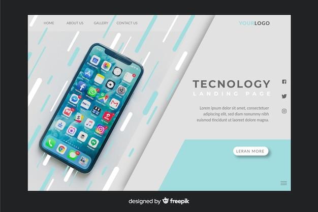 Página de inicio de tecnología con foto de smartphone