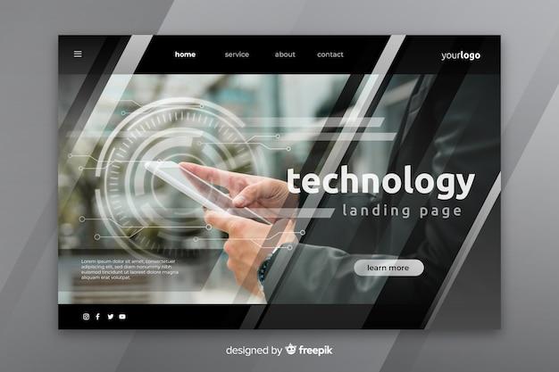 Página de inicio de tecnología con foto