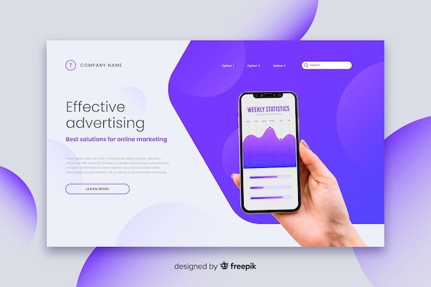 Página de inicio de tecnología publicitaria efectiva