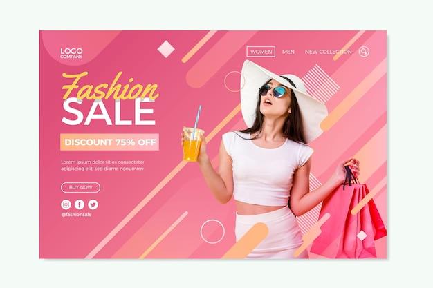 Página de inicio con tema de venta de moda