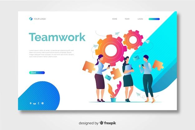 Página de inicio de trabajo en equipo con compañeras de trabajo