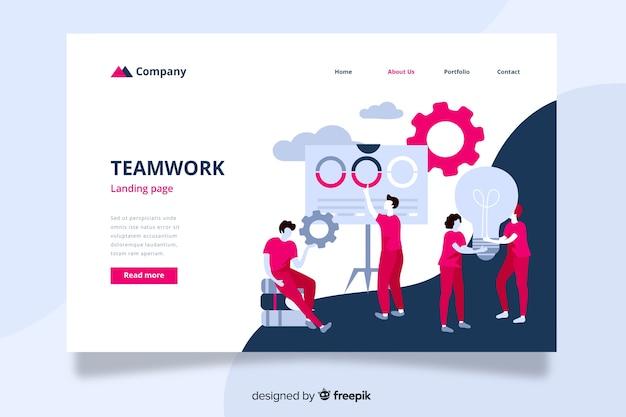 Página de inicio de trabajo en equipo con compañeros de trabajo ayudándose mutuamente