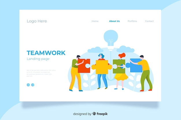 Página de inicio de trabajo en equipo de diseño multicolor plano con personajes que sostienen piezas de rompecabezas