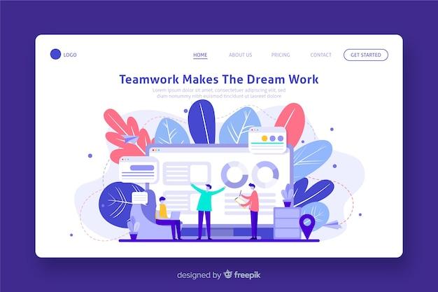Página de inicio de trabajo en equipo empresarial