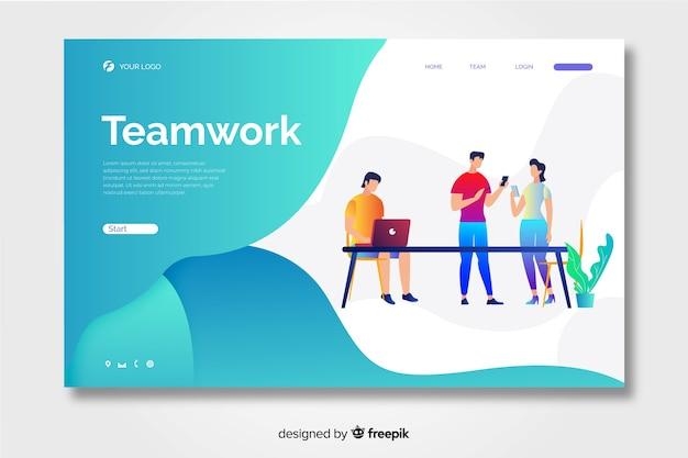 Página de inicio de trabajo en equipo con formas líquidas