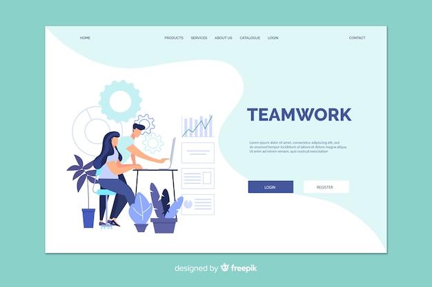 Página de inicio de trabajo en equipo con ilustración