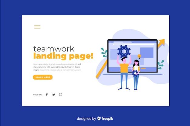 Página de inicio de trabajo en equipo con laptop y personajes de diseño plano