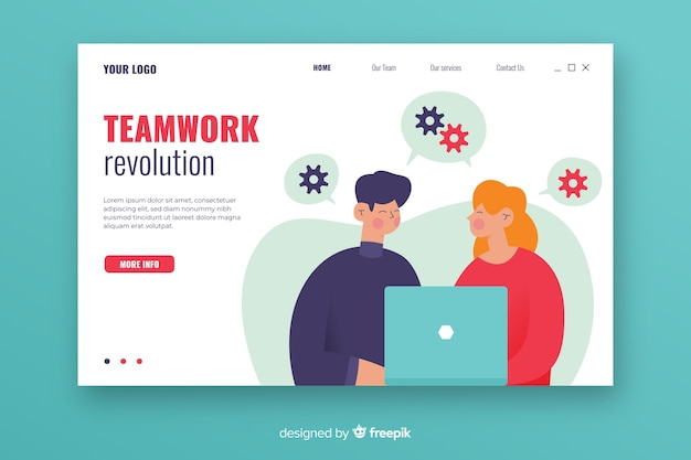 Página de inicio de trabajo en equipo con personajes ilustrados
