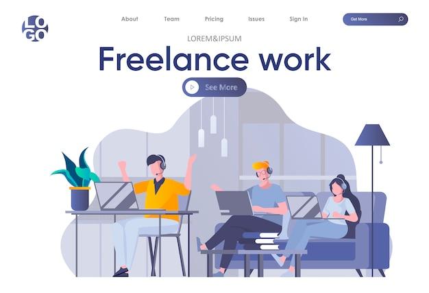 Página de inicio de trabajo independiente con encabezado. los jóvenes desarrolladores se unen en equipo trabajando con computadoras portátiles en la escena espacial de coworking. trabajo remoto en la empresa y la ocupación por cuenta propia ilustración plana.