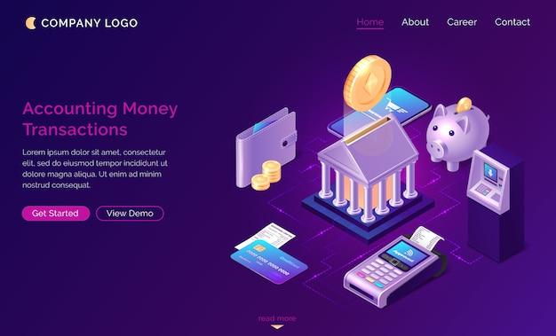 Página de inicio de transacciones de dinero contable
