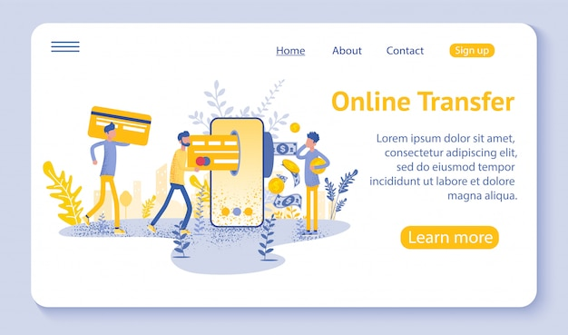 Página de inicio de transferencia en línea con la mano que sostiene el teléfono inteligente y presiona el botón enviar