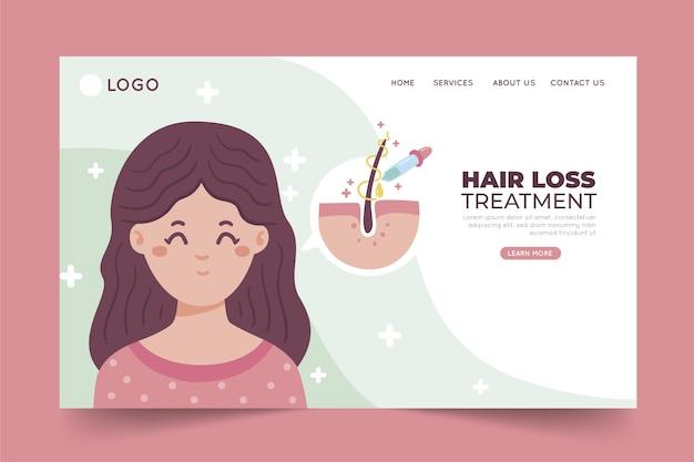 Página de inicio de tratamiento de pérdida de cabello dibujada a mano