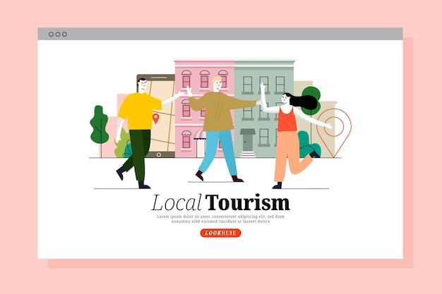 Página de inicio de turismo local con personas