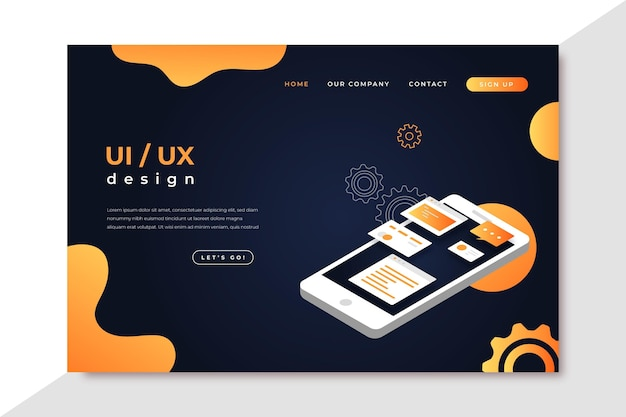 Página de inicio de ui / ux de degradado