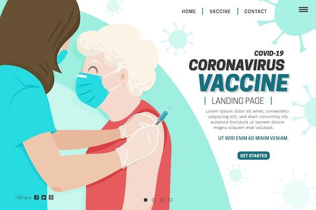 Página de inicio de la vacuna contra el coronavirus dibujada a mano plana