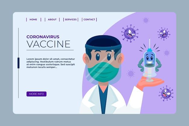 Página de inicio de la vacuna contra el coronavirus de dibujos animados