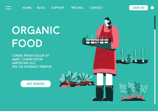Página de inicio de vector del concepto de alimentos orgánicos