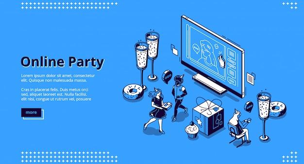 Página de inicio de vector para el concepto de fiesta en línea