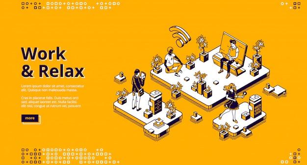 Página de inicio de vector con concepto de trabajo y relax
