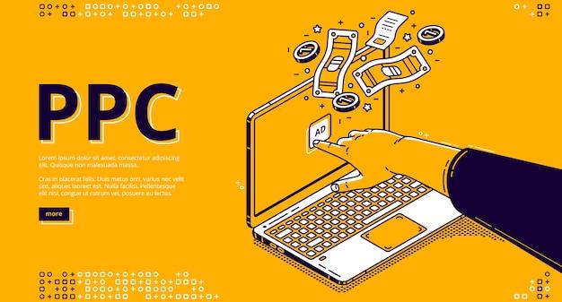 Página de inicio de vector del sistema de pago por clic con clics de mano isométricos para anunciar en la pantalla del portátil y dinero.
