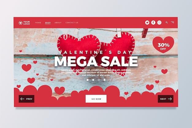 Página de inicio de la venta del día de san valentín