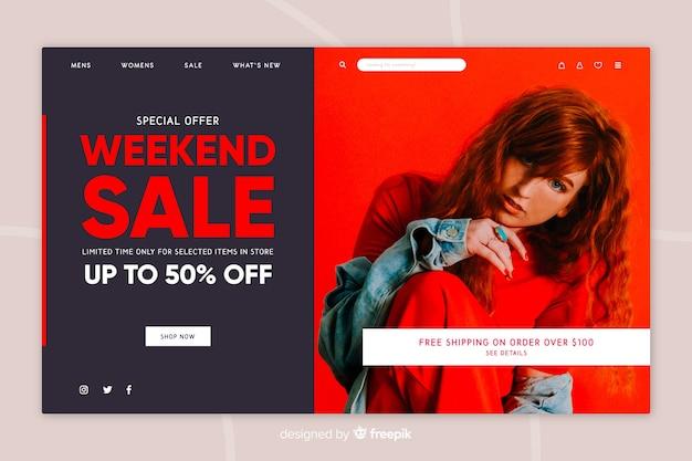Página de inicio de venta con foto