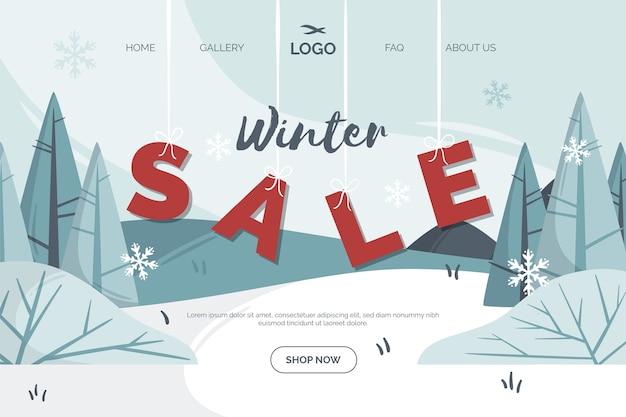 Página de inicio de venta de invierno de diseño plano