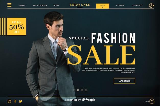 Página de inicio de venta de moda con foto