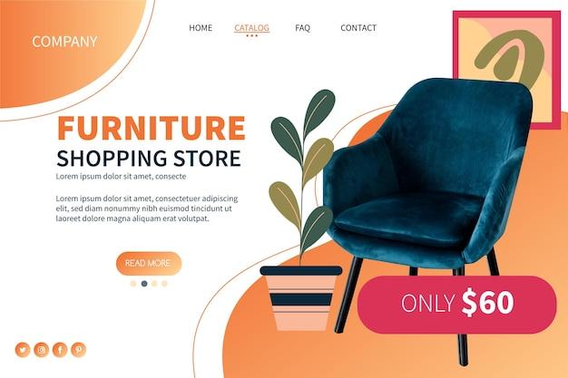Página de inicio de venta de muebles degradados con foto