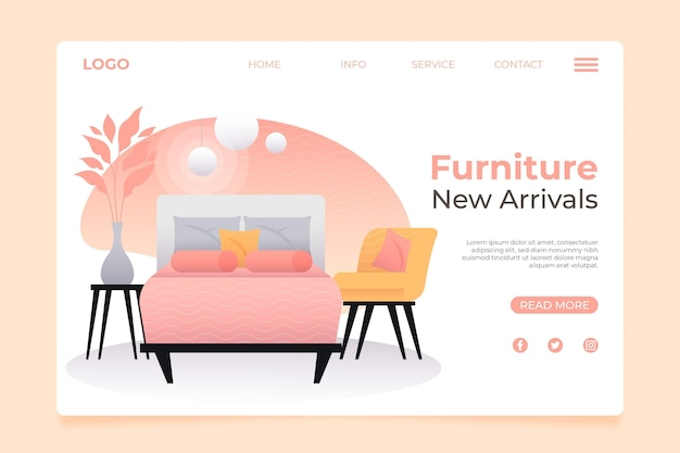 Página de inicio de venta de muebles degradados