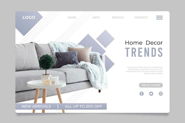 Página de inicio de venta de muebles planos con foto