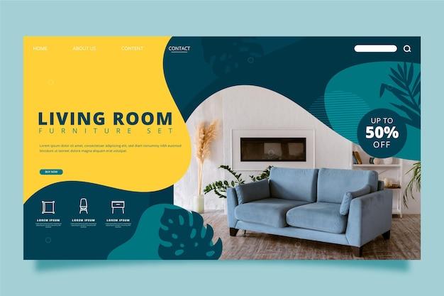 Página de inicio de venta de muebles planos orgánicos con foto