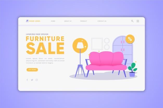 Página de inicio de venta de muebles planos orgánicos