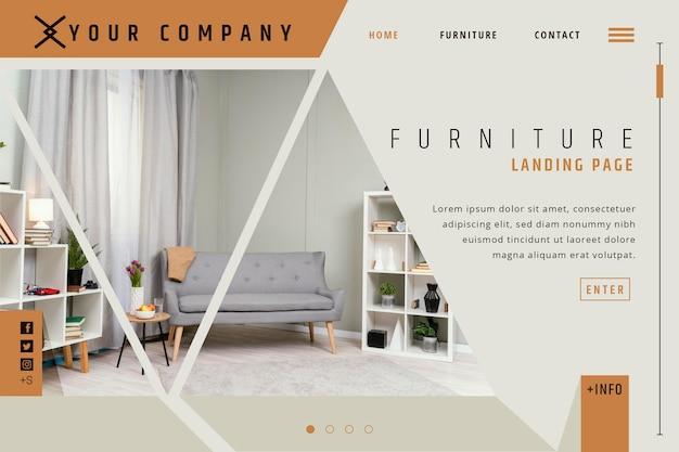 Página de inicio de venta de muebles planos