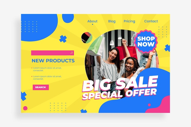 Página de inicio de venta plana con foto