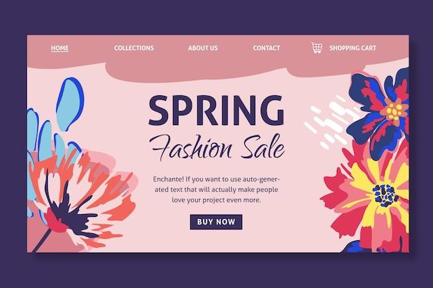 Página de inicio de venta de primavera plana