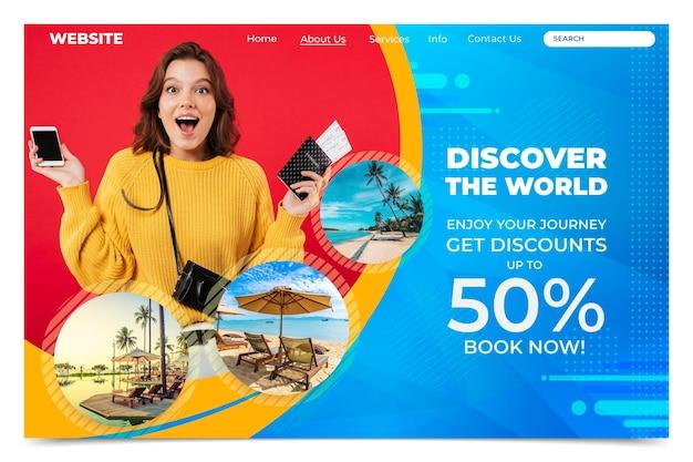 Página de inicio de venta de viajes con foto