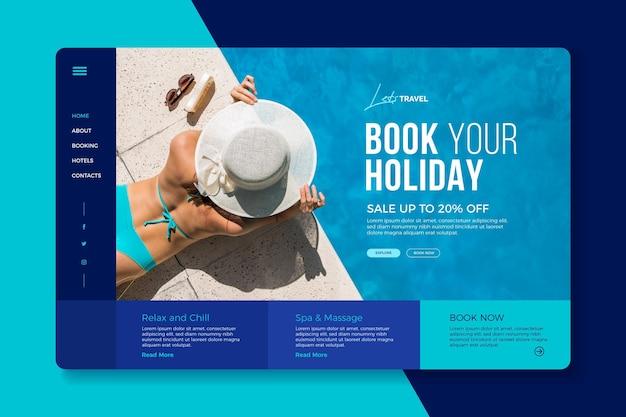 Página de inicio de venta de viajes con imagen