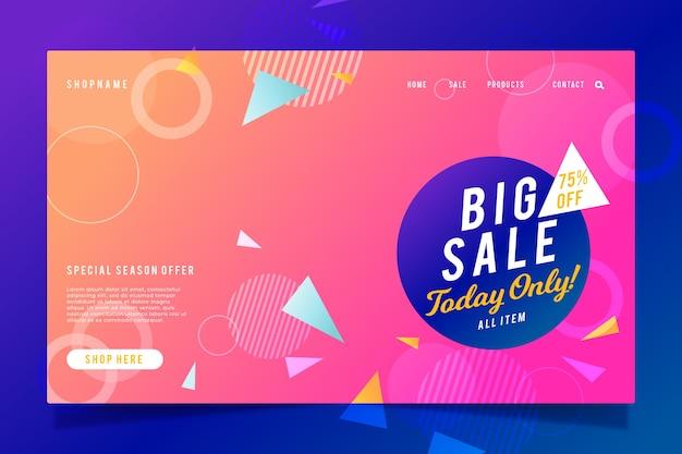 Página de inicio de ventas abstractas con gradiente