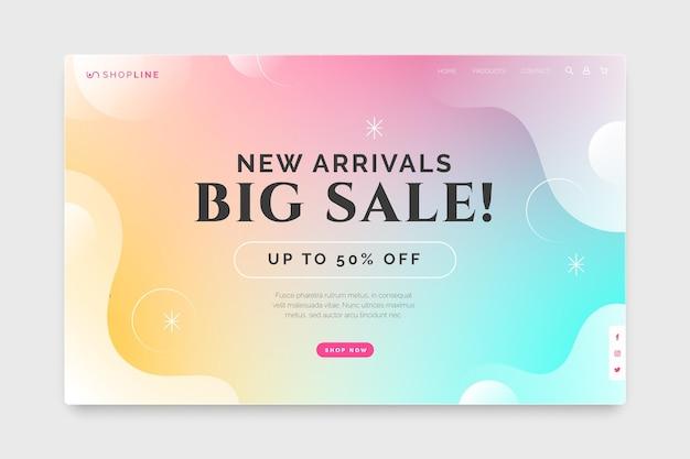 Página de inicio de ventas degradada