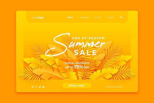 Página de inicio de ventas de fin de verano tropical