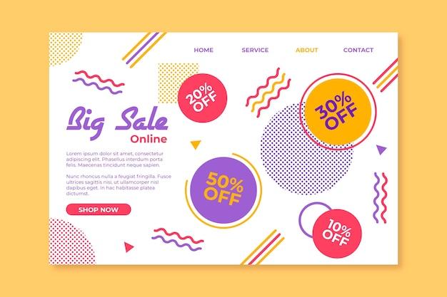 Página de inicio de ventas de plantilla abstracta