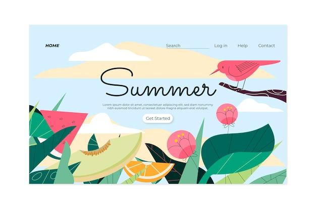 Página de inicio de verano dibujada a mano