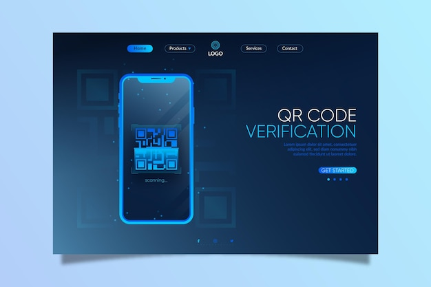 Página de inicio de verificación de código qr realista